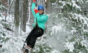 Winter Ziplining in Wisconsin Dells