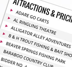 Attraction Price List