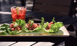 Strawberry Lemon Smash & Tuna Tartare Lettuce Wraps at B-Lux Grill & Bar