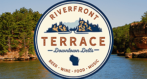 Riverfront Terrace Logo over river photo