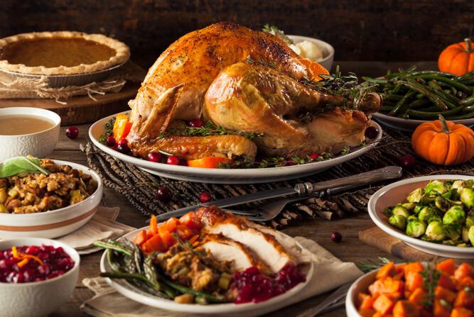 Full traditional Thanksgiving dinner