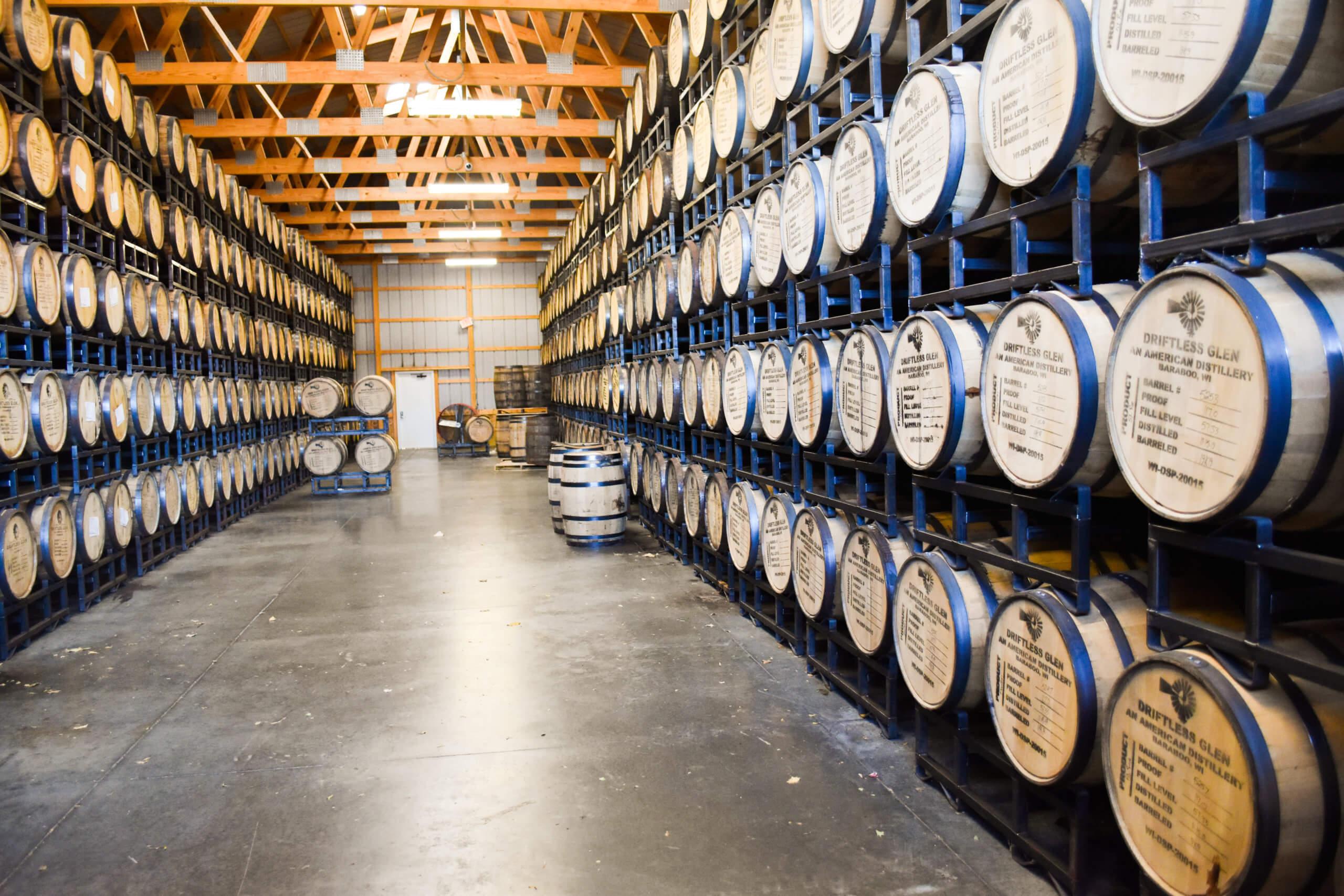 Room full of whiskey barrels